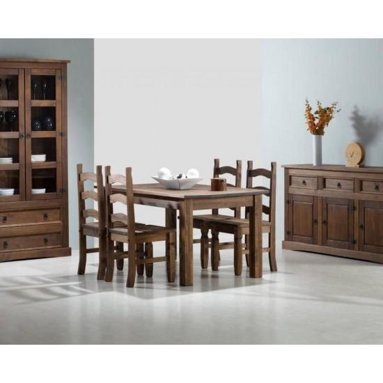 Conjunto de mesa extensible y sillas comedor rústico Modelo Nuevo Arizona
