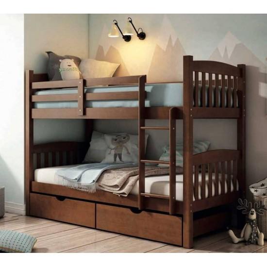 Litera dos camas y cajónes madera pino Nogal