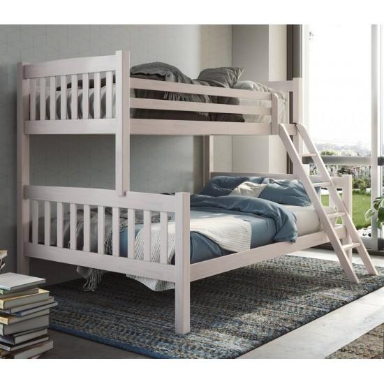 Litera doble dos camas madera maciza pino color blanco lavado