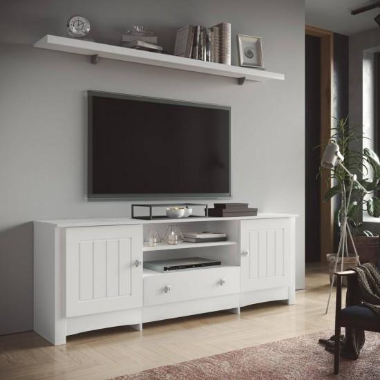 Mesa de televisión lacada en blanco Mediterraneo I