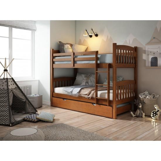 Litera tres camas madera pino color Nogal
