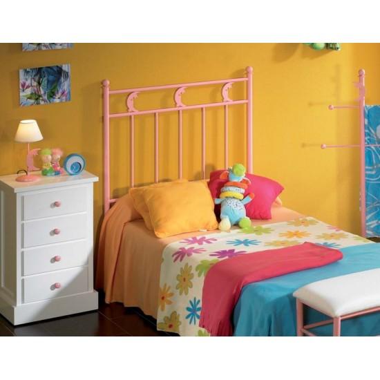 Cabecero de forja rosa para dormitorio juvenil Abner