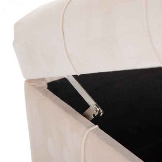 Banqueta baúl rectangular tapizada patas metálicas Maleta Beig