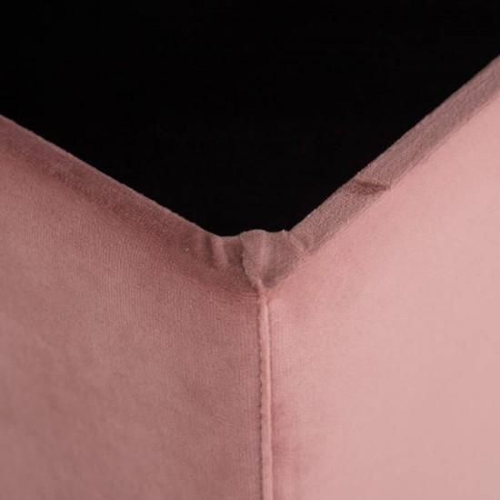 Banqueta baúl rectangular tapizada patas metálicas Maleta Rosa