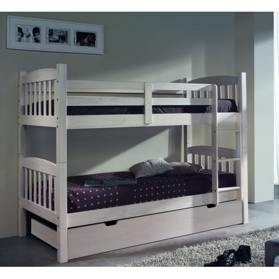 Litera tres camas madera maciza pino blanco lavado
