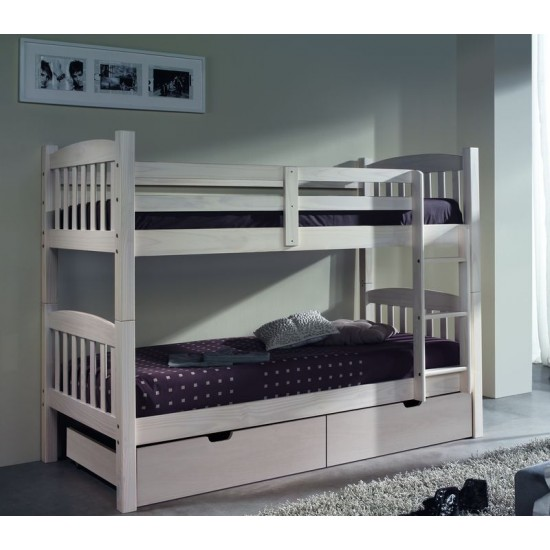 Litera dos camas y cajónes madera pino blanco lavado