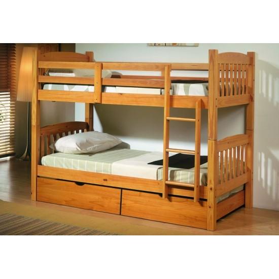 Litera madera maciza dos camas y cajones color miel