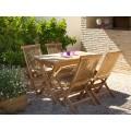 Conjunto mesas y sillas teca