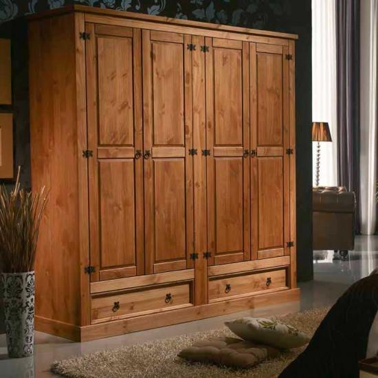 Armario cuatro puertas estilo rústico nogal Veracruz