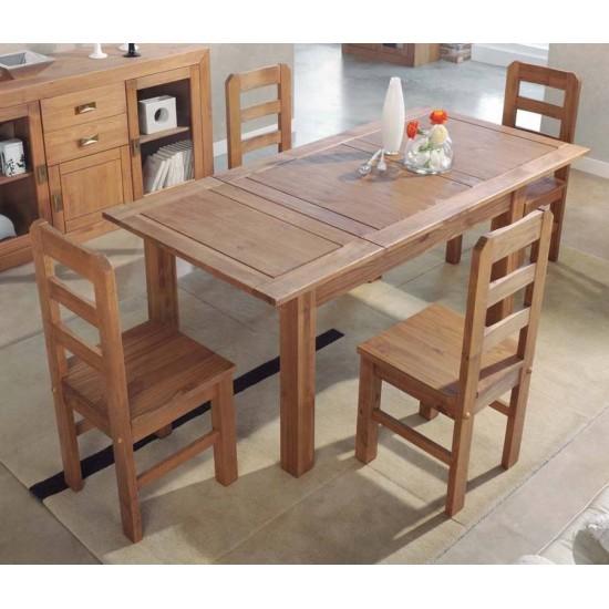 Conjunto mesa extensible y sillas rustica cera nogal Jalisco
