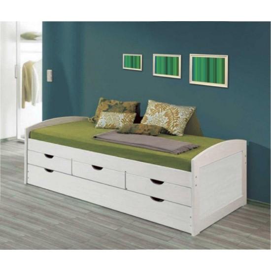 Cama nido con cajones blanco lavado dormitorio Lineas