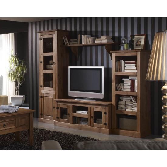 Composición mueble salón-comedor rústico nogal Veracruz III
