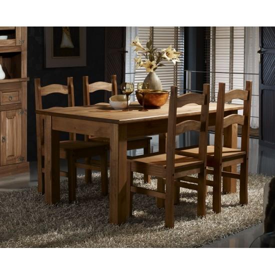 Conjunto mesa fija  y sillas salón comedor estilo rústico Veracruz